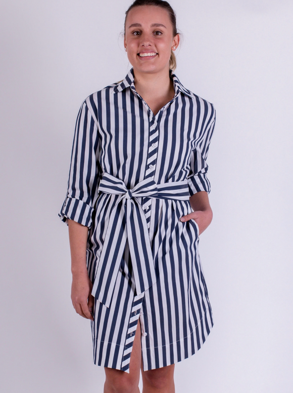 Audrey Everyday Shirtdress Navy Stripe