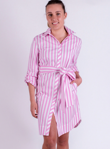 Audrey Everyday Shirtdress Candy Pink Stripe