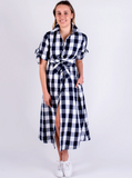 Evelyn Classic Dress French Navy Check