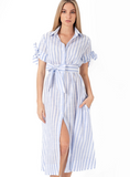 Evelyn Classic Dress Baby Blue Stripe