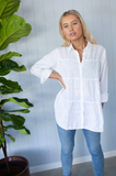 Tiered Linen Shirt White