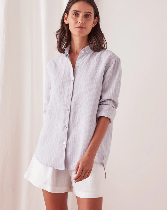 Xander Long Sleeve Linen Shirt Seamist Stripe