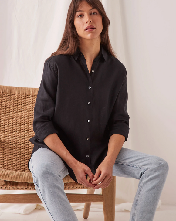 Xander Long Sleeve Linen Shirt Black