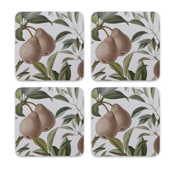 Pears Square Coasters Set 4
