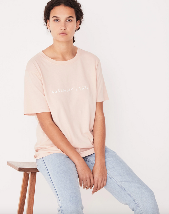 Logo Cotton Crew Tee Womens Rosewater