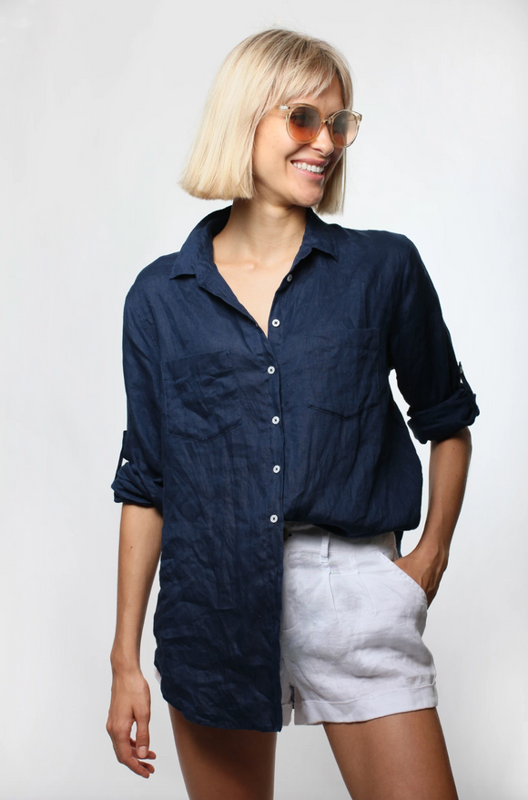 The Linen Boyfriend Shirt French Navy