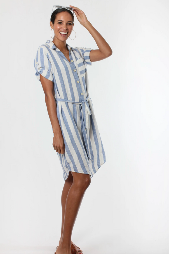 Miami Stripe Shirt Dress Ocean Blue/ White Stripe