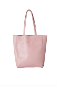 Savannah Small Leather Tote Dusty Pink