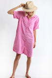 Boyfriend Shirt Dress Pink Chambray