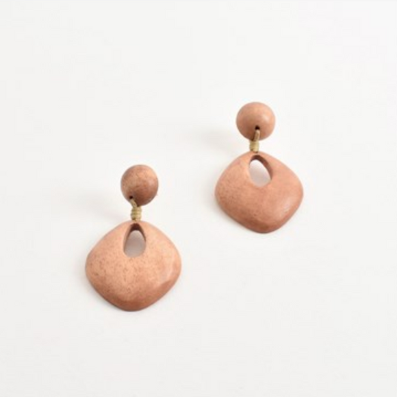 Cut Out Timber Earrings Pink