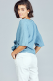 Bergman Wrap Top River Blue
