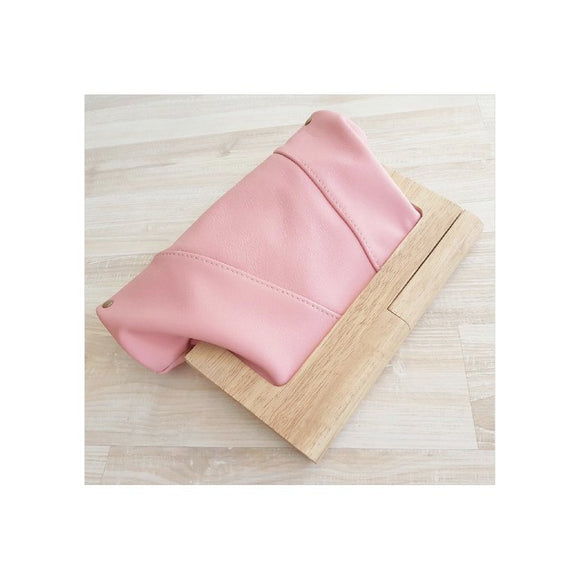 Sherbet Leather Timber Clutch