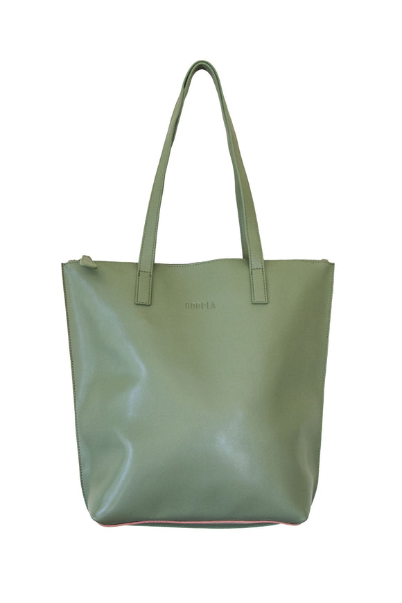 Daisy Leather Zip Tote Olive