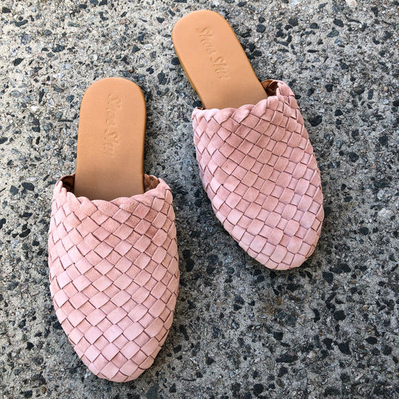 Leather Woven Loafer Slide Pink Suede
