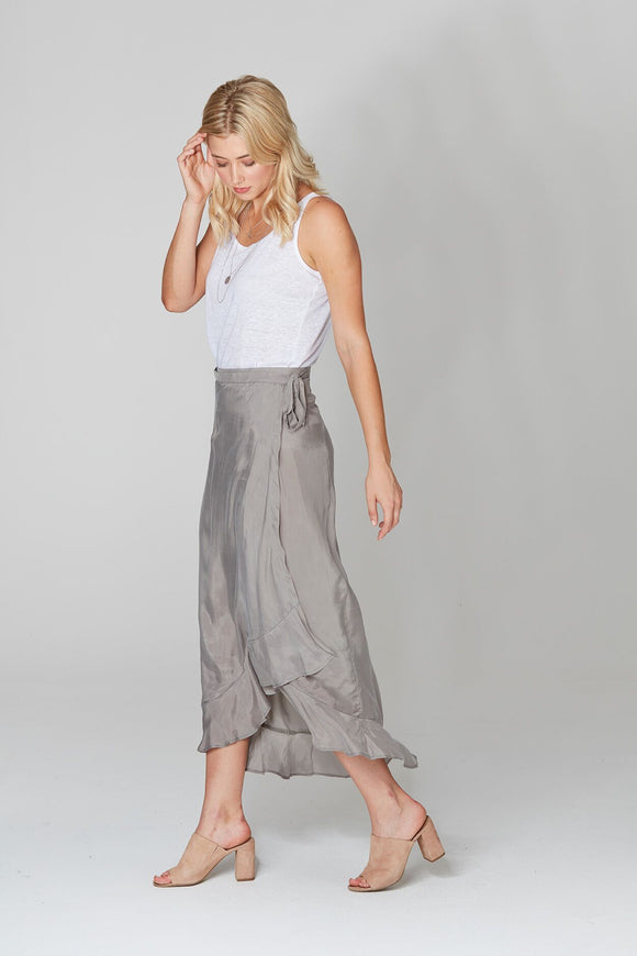 Wrap Cupro Skirt Slate
