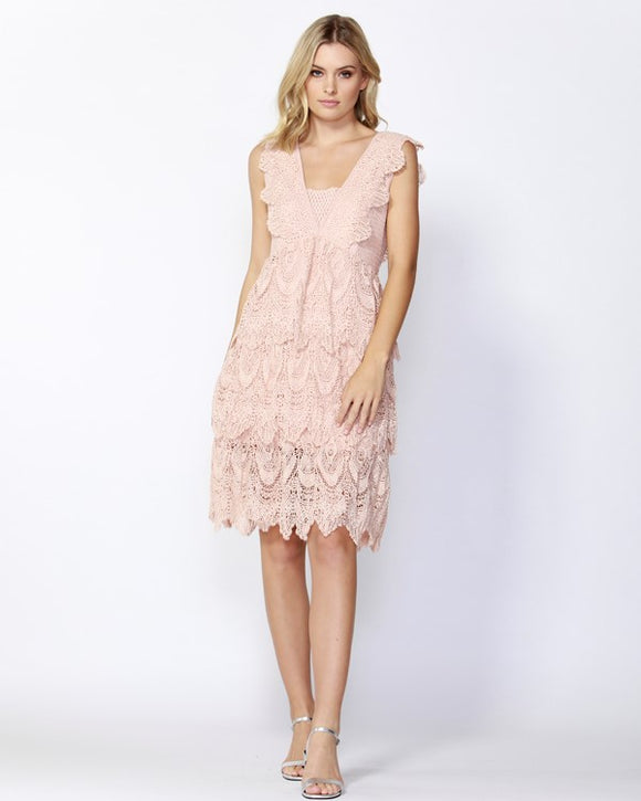 French Quarter Lace Dress Soft Pink