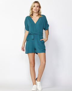 Horizon Waist Tie Playsuit Blue
