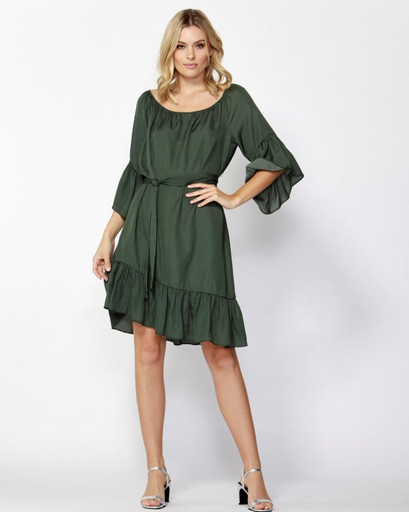 Around Town Ruffle Dress Deluxe Green