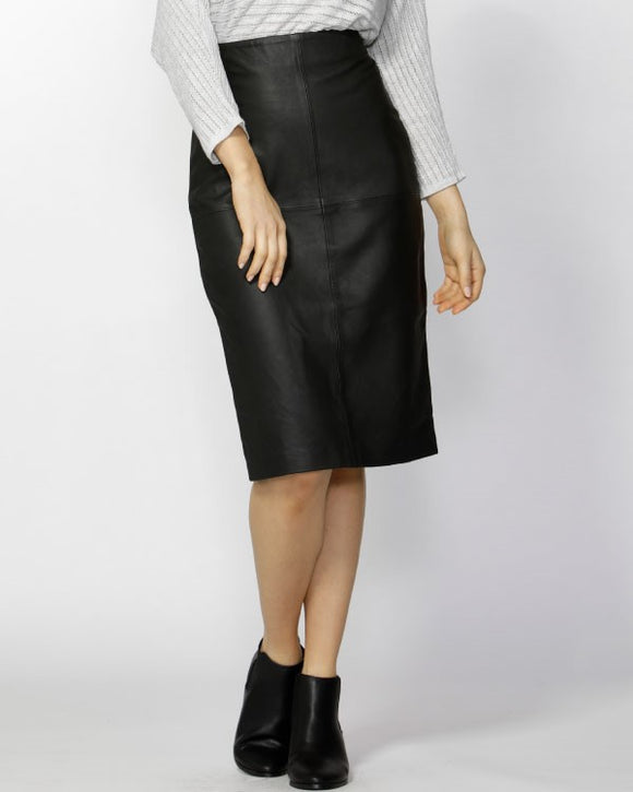 Umbra Midi Leather Skirt Black