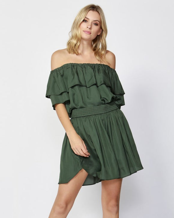 Weekend Blues Ruffle Top Deluxe Green