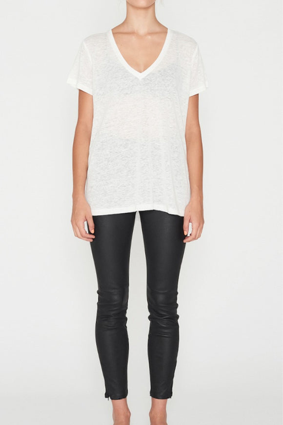 EC Linen V Neck Tee White