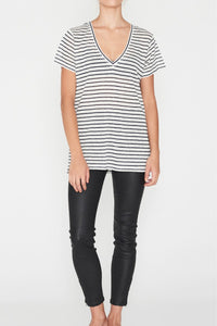 EC Linen V Neck Tee Navy Stripe