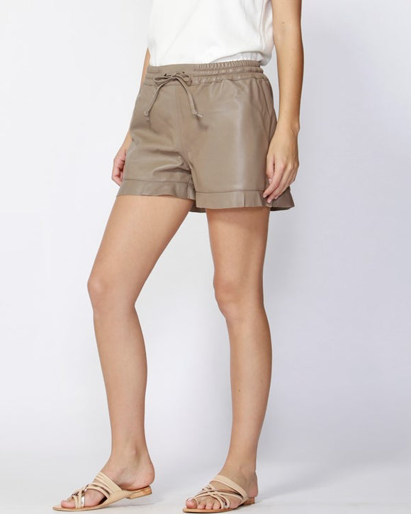Zimmi Leather Shorts Mocha