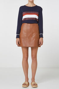 Lucette Leather Skirt Tan