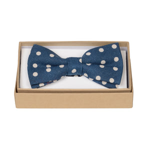 Dark Blue Polka Bow Tie