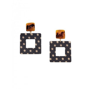 Black Squared Polka Dot Earrings