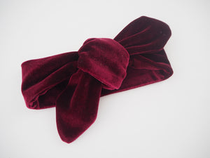 Baby Top Knot Headband Burgundy Velevt
