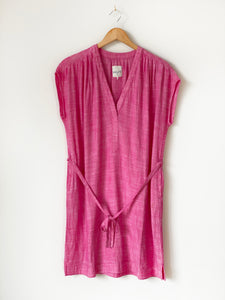 Split Neck Tunic Dress Hot Pink Chambray