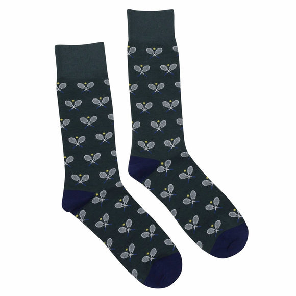 Socks Dark Green Tennis Racquets