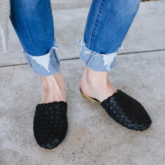 Leather Woven Loafer Slide Black