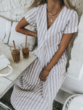 Lulu Dress Natural/ White Stripe