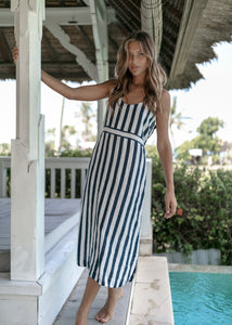Mabel Dress Navy Stripe