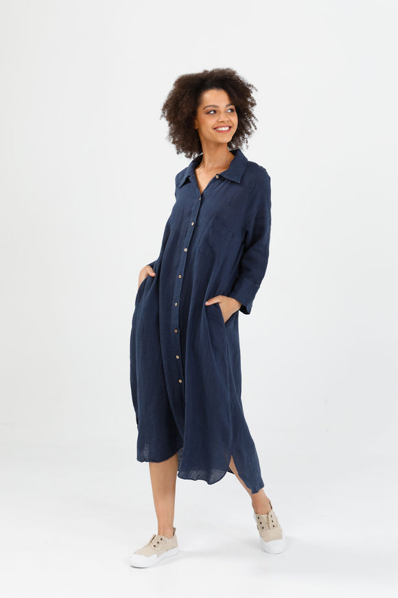 Ines Shirt Dress Navy