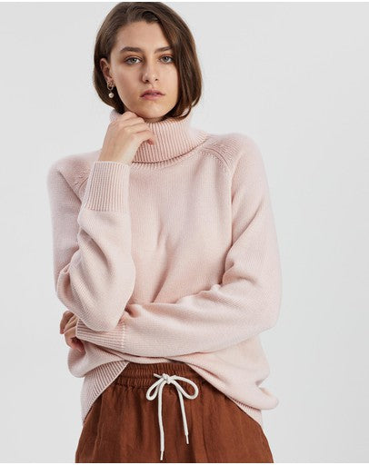 Ribbed Roll Neck Knit Rosewater