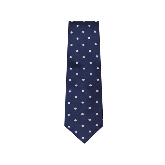 Navy and White Polka Silk Tie