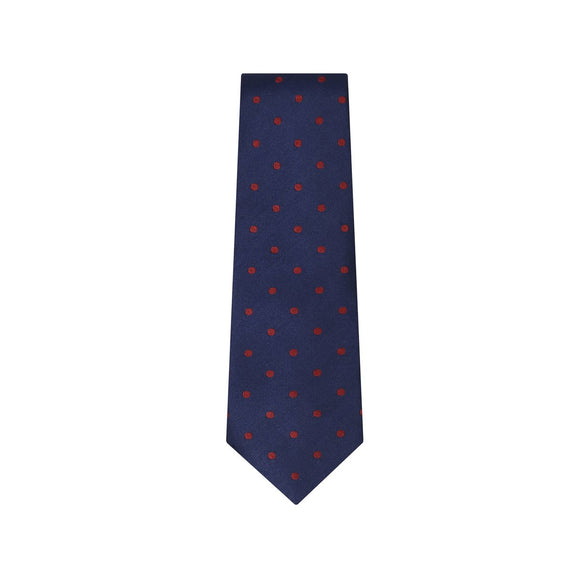 Navy and Red Polka Silk Tie