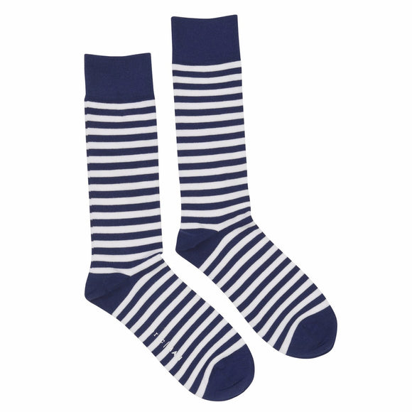 Socks Navy & White Stripe