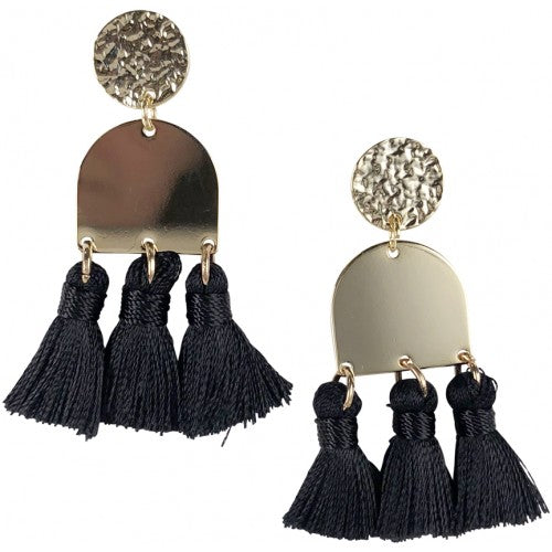 Dome Black Tassel Earrings