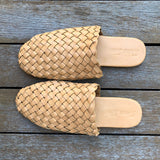 Leather Woven Loafer Slide Light Tan