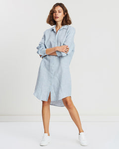 Xander Linen Shirt Dress Washed Blue