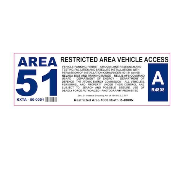 Area51 Decal - Area51 Sticker - Area 51 - Groom lake - Dreamland - USAF Decal - Military Decal - Aviation Sticker - Funny Sticker - Base Pass - Car Sticker - Jeep decal