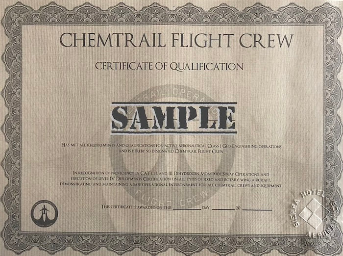 Chemtrail Certificate - Chemtrail Degree - Chemtrail Training - Pilot Training Certificate - Solo Certificate - Pilot Degree - Chemtrails-Chemtrail Control Panel-Chemtrail Switch- Aviation Collectables - Pilot Supplies - Pilot Shop