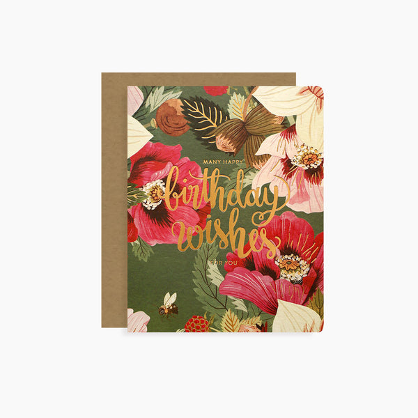 BIRTHDAY WISHES card | letterpress gold foil