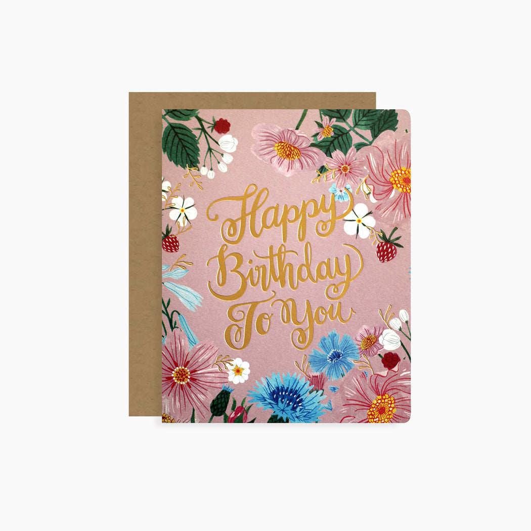 Happy Birthday To You card | letterpress gold foil