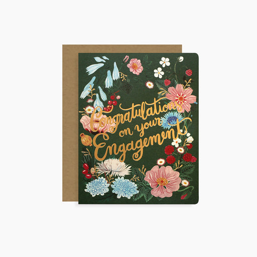 Engagement Congratulations card | letterpress gold foil