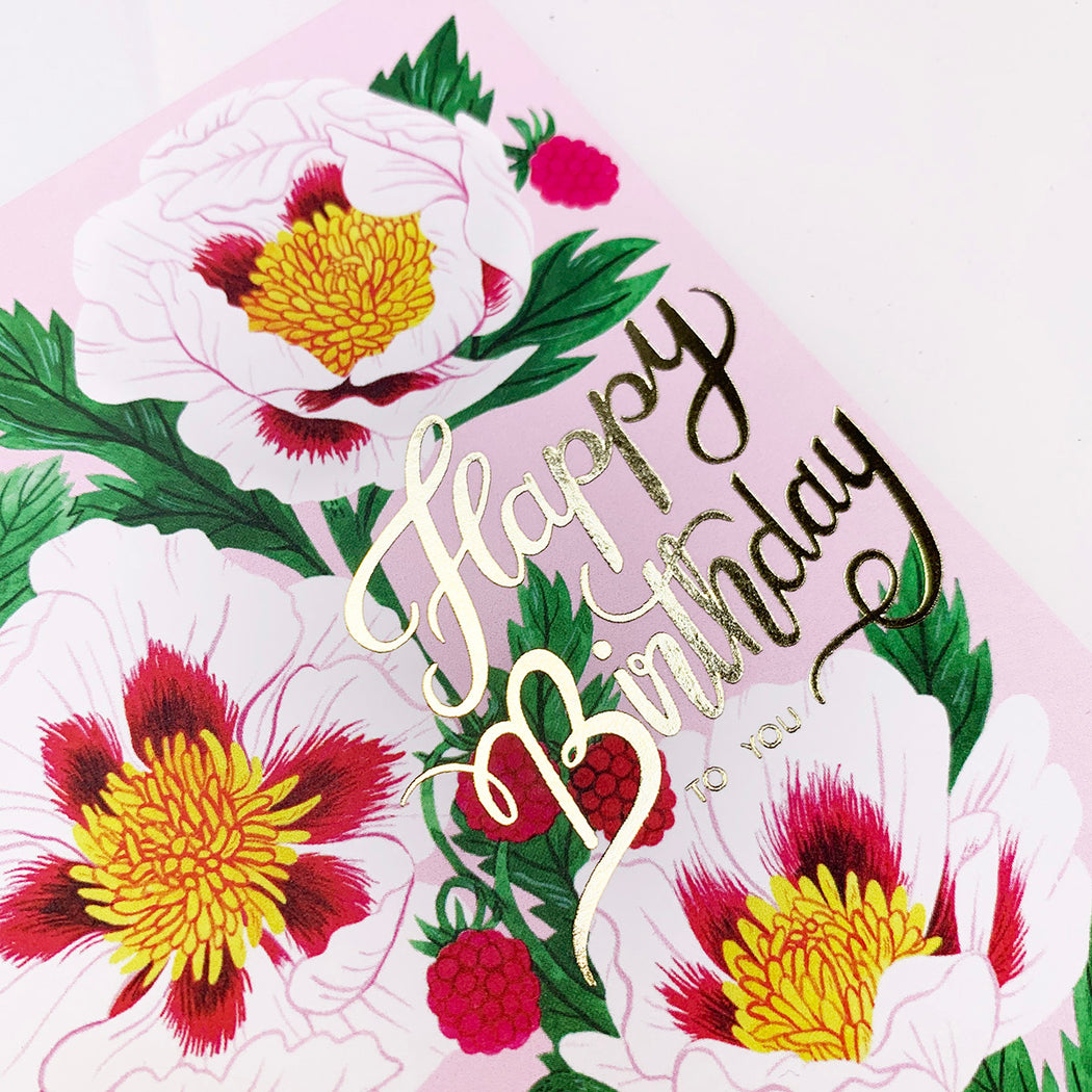 White Poppy Birthday | gold foil